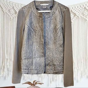 NWOT Peter Nygard Silver/Gray Leather Jacket